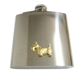 Gold Toned Textured Scottish Terrier Dog 6oz Flask